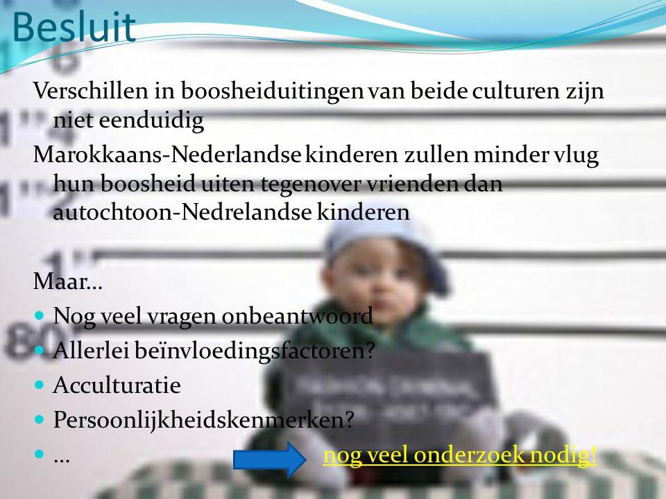Besluit Verschillen in boosheiduitingen van beide culturen zijn niet eenduidig Marokkaans-Nederlandse kinderen zullen minder vlug hun boosheid uiten tegenover vrienden dan autochtoon-Nedrelandse kinderen Maar…  Nog veel vragen onbeantwoord  Allerlei beïnvloedingsfactoren.