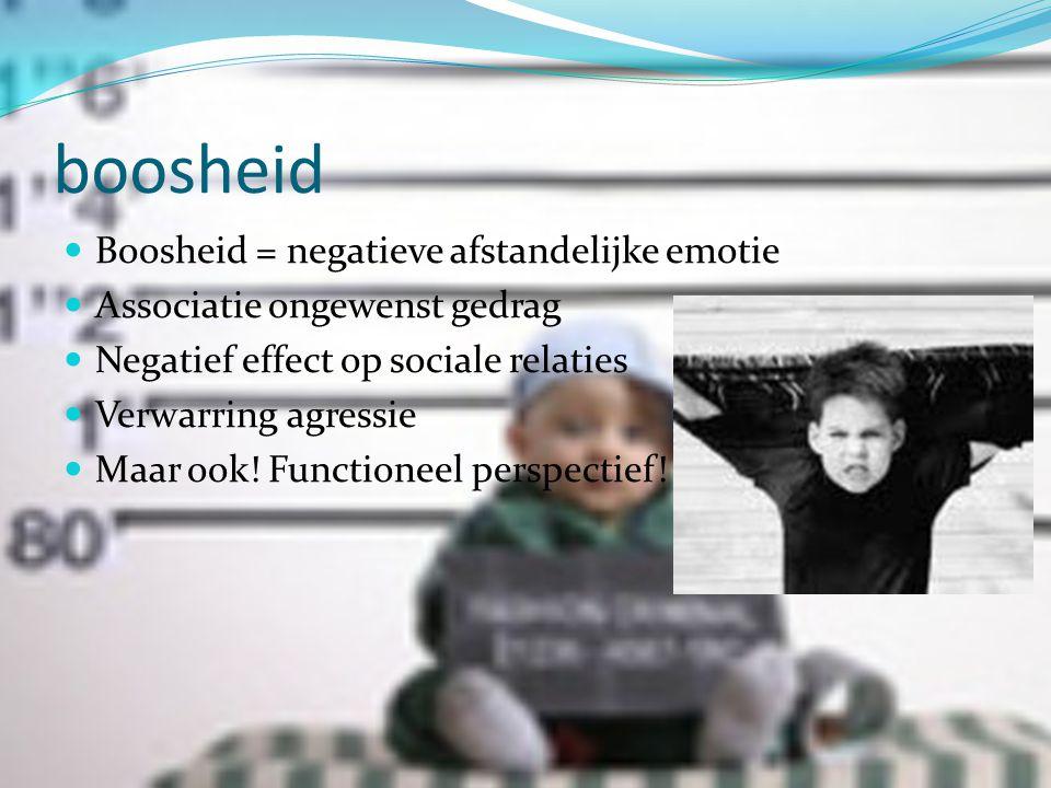 boosheid  Boosheid = negatieve afstandelijke emotie  Associatie ongewenst gedrag  Negatief effect op sociale relaties  Verwarring agressie  Maar ook.