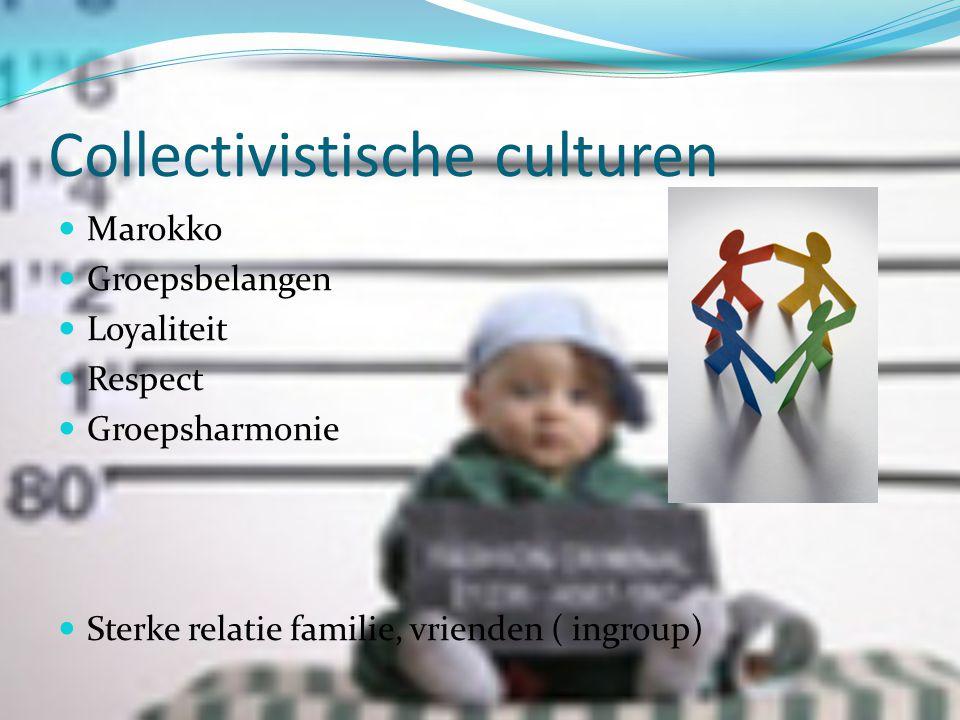 Collectivistische culturen  Marokko  Groepsbelangen  Loyaliteit  Respect  Groepsharmonie  Sterke relatie familie, vrienden ( ingroup)