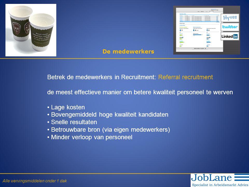 De medewerkers Betrek de medewerkers in Recruitment: Referral recruitment de meest effectieve manier om betere kwaliteit personeel te werven • Lage ko