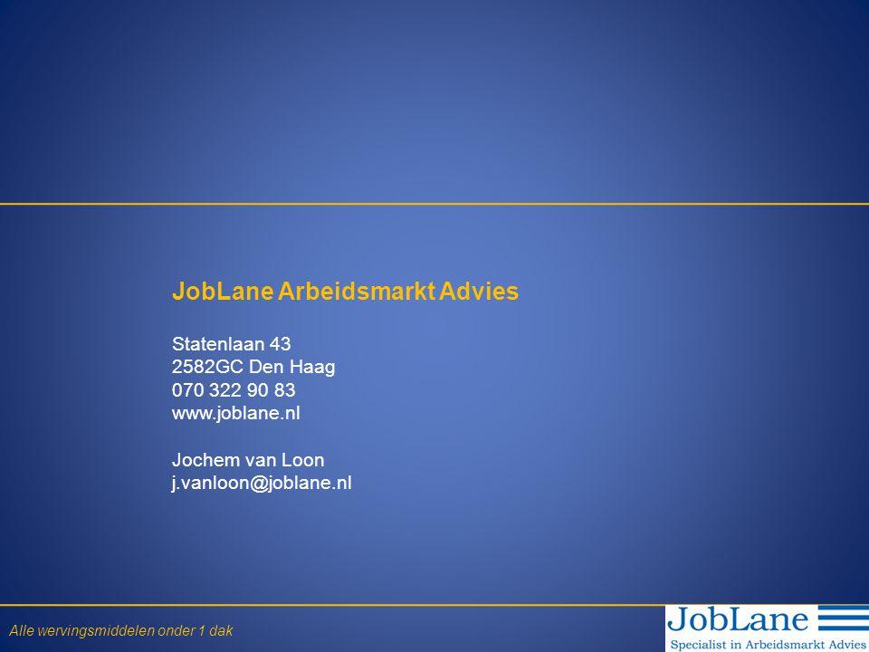 JobLane Arbeidsmarkt Advies Statenlaan 43 2582GC Den Haag 070 322 90 83 www.joblane.nl Jochem van Loon j.vanloon@joblane.nl Alle wervingsmiddelen onder 1 dak