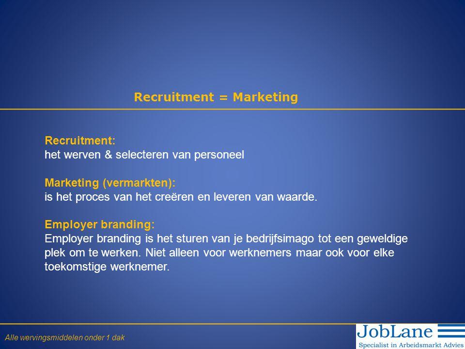 Recruitment = Marketing Recruitment: het werven & selecteren van personeel Marketing (vermarkten): is het proces van het creëren en leveren van waarde