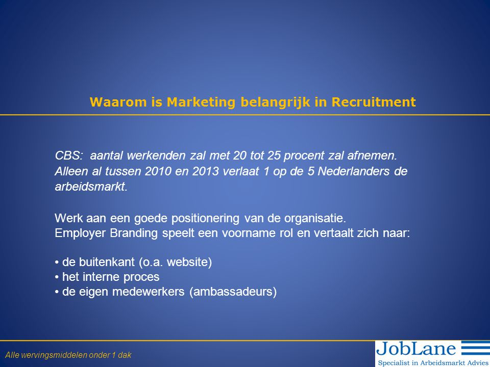 Waarom is Marketing belangrijk in Recruitment CBS: aantal werkenden zal met 20 tot 25 procent zal afnemen. Alleen al tussen 2010 en 2013 verlaat 1 op