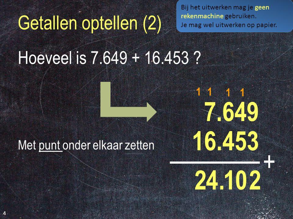 Getallen optellen (2) 4 Hoeveel is 7.649 + 16.453 .