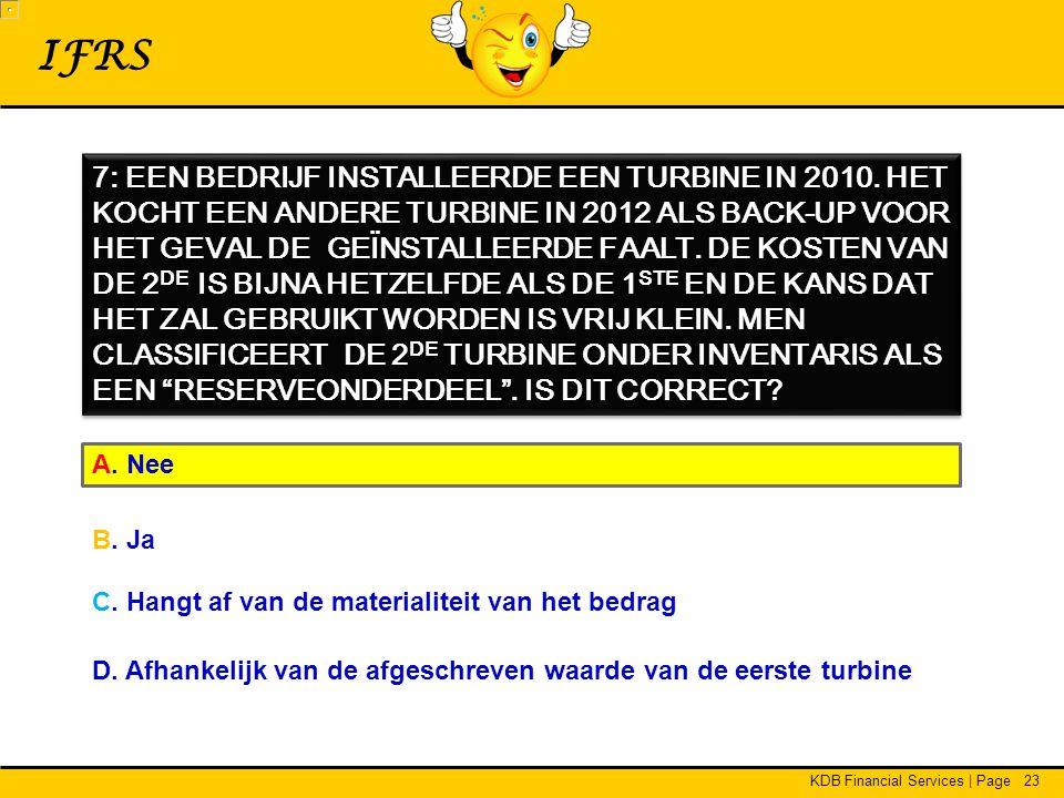 KDB Financial Services | Page23 IFRS 7: EEN BEDRIJF INSTALLEERDE EEN TURBINE IN 2010.