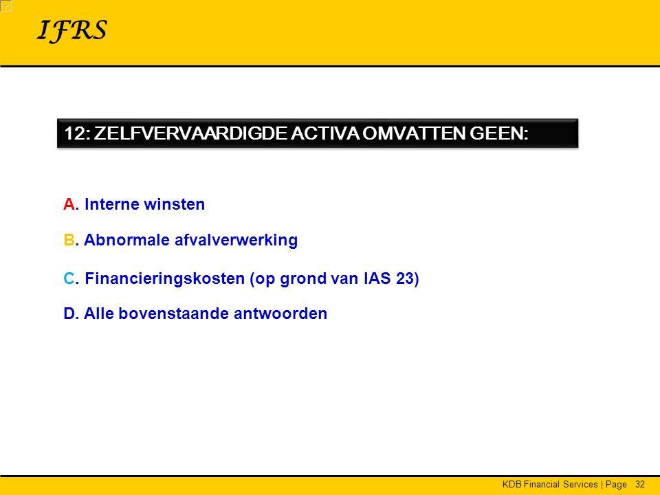 KDB Financial Services | Page32 12: ZELFVERVAARDIGDE ACTIVA OMVATTEN GEEN: IFRS A.