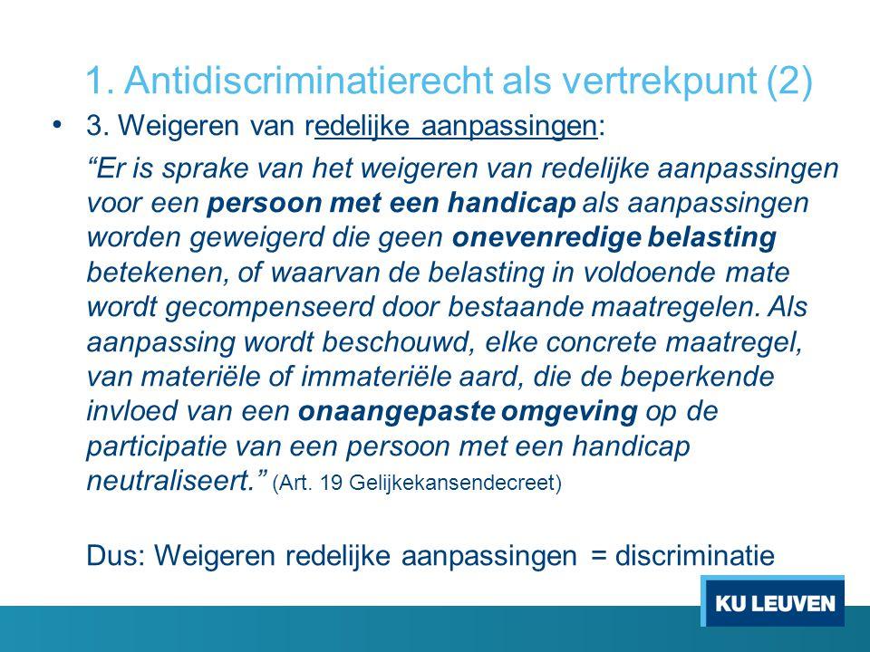 """1. Antidiscriminatierecht als vertrekpunt (2) • 3. Weigeren van redelijke aanpassingen: """"Er is sprake van het weigeren van redelijke aanpassingen voor"""