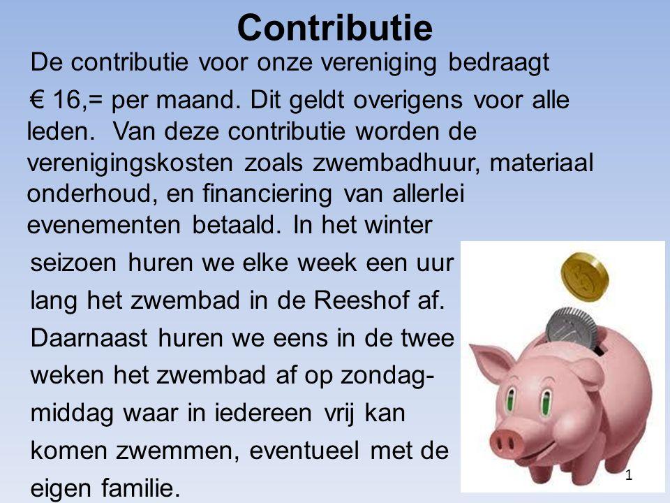 De contributie voor onze vereniging bedraagt € 16,= per maand. Dit geldt overigens voor alle leden. Van deze contributie worden de verenigingskosten z