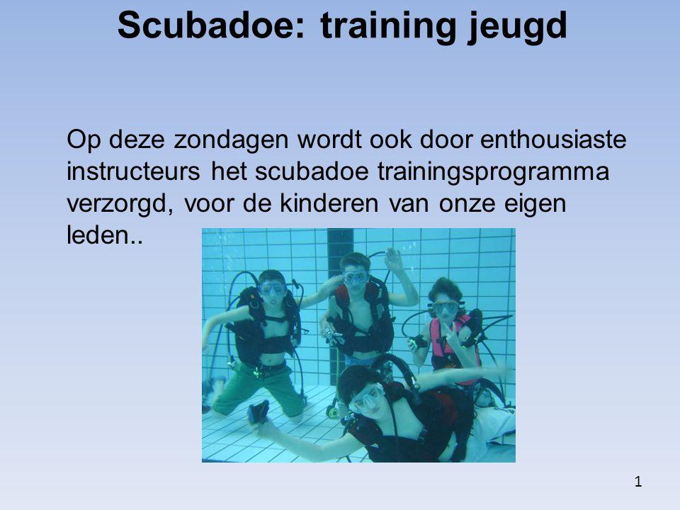 Op deze zondagen wordt ook door enthousiaste instructeurs het scubadoe trainingsprogramma verzorgd, voor de kinderen van onze eigen leden.. Scubadoe: