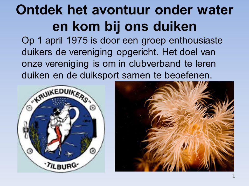 Ontdek het avontuur onder water en kom bij ons duiken Op 1 april 1975 is door een groep enthousiaste duikers de vereniging opgericht. Het doel van onz