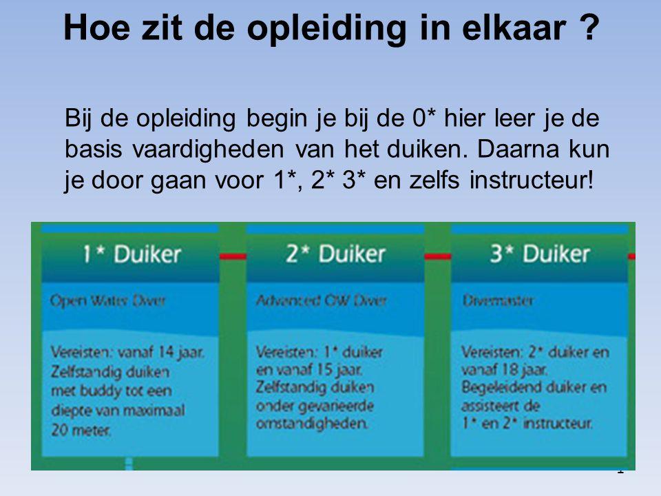 Hoe zit de opleiding in elkaar ? Bij de opleiding begin je bij de 0* hier leer je de basis vaardigheden van het duiken. Daarna kun je door gaan voor 1