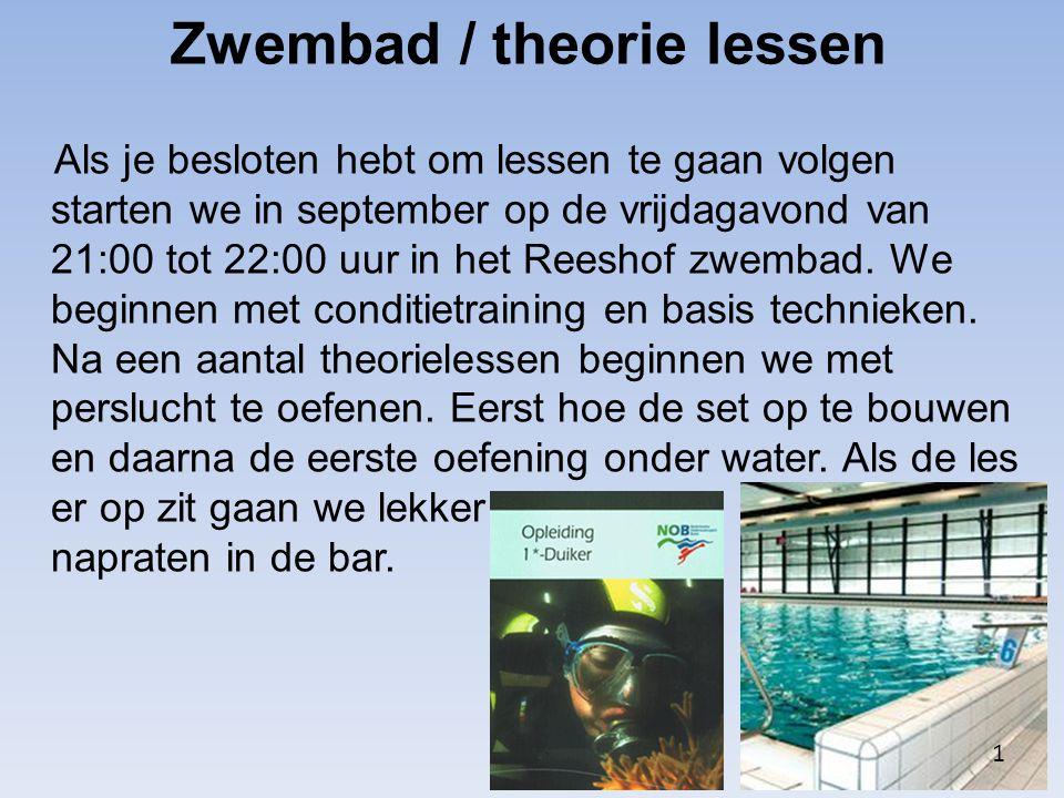 Zwembad / theorie lessen Als je besloten hebt om lessen te gaan volgen starten we in september op de vrijdagavond van 21:00 tot 22:00 uur in het Reesh