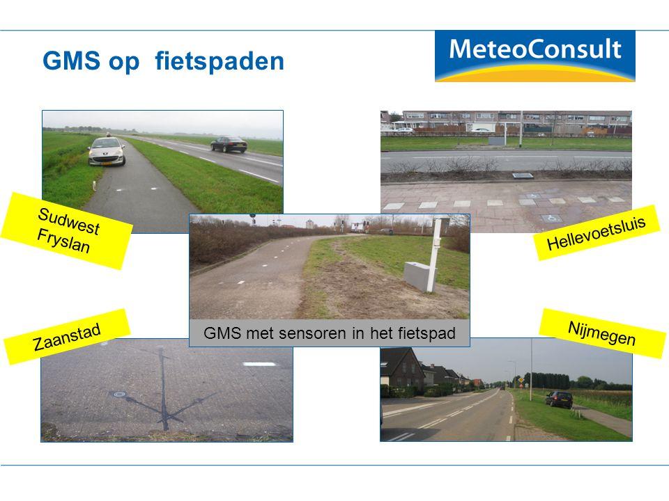 GMS op fietspaden Sudwest Fryslan Hellevoetsluis Zaanstad Nijmegen GMS met sensoren in het fietspad