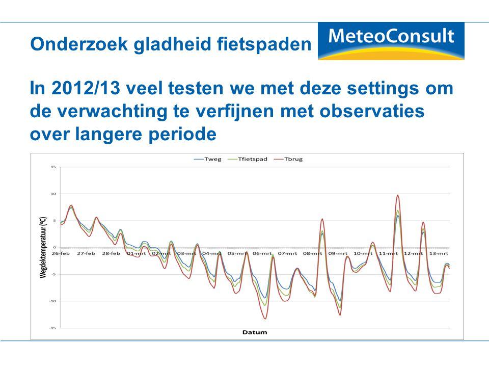 In 2012/13 veel testen we met deze settings om de verwachting te verfijnen met observaties over langere periode