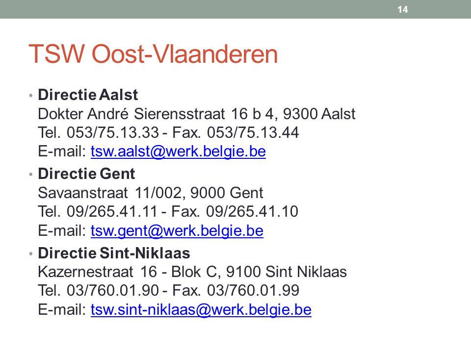 TSW Oost-Vlaanderen • Directie Aalst Dokter André Sierensstraat 16 b 4, 9300 Aalst Tel.