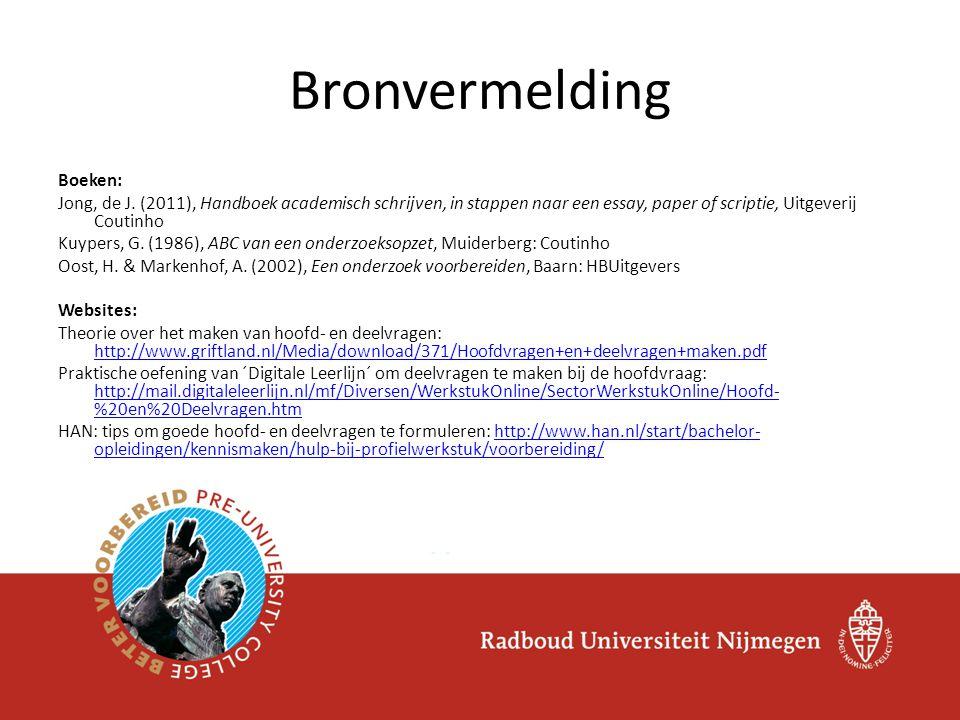 Bronvermelding Boeken: Jong, de J.