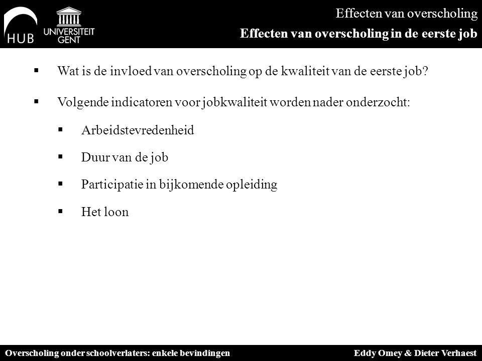Effecten van overscholing Effecten van overscholing in de eerste job  Wat is de invloed van overscholing op de kwaliteit van de eerste job.
