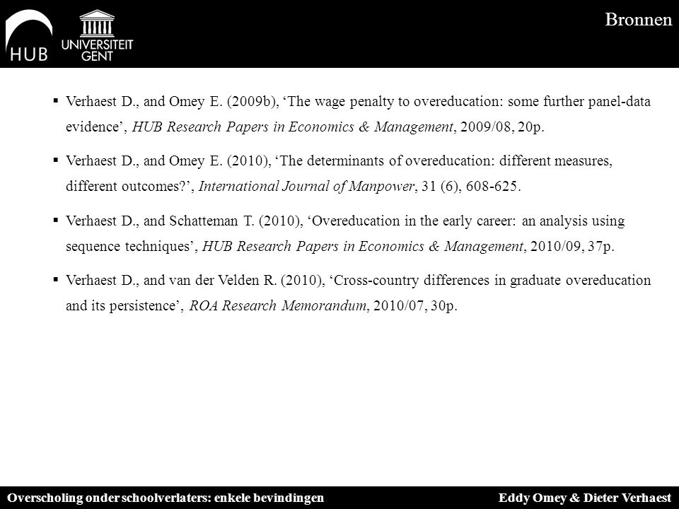  Verhaest D., and Omey E. (2009b), 'The wage penalty to overeducation: some further panel-data evidence', HUB Research Papers in Economics & Manageme