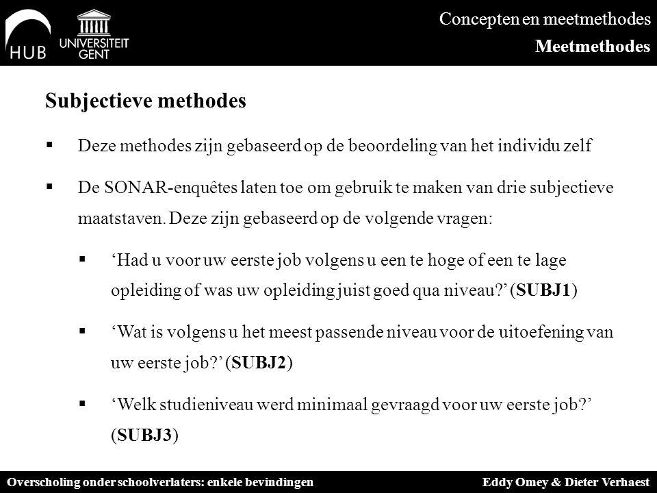 Subjectieve methodes  Deze methodes zijn gebaseerd op de beoordeling van het individu zelf  De SONAR-enquêtes laten toe om gebruik te maken van drie subjectieve maatstaven.