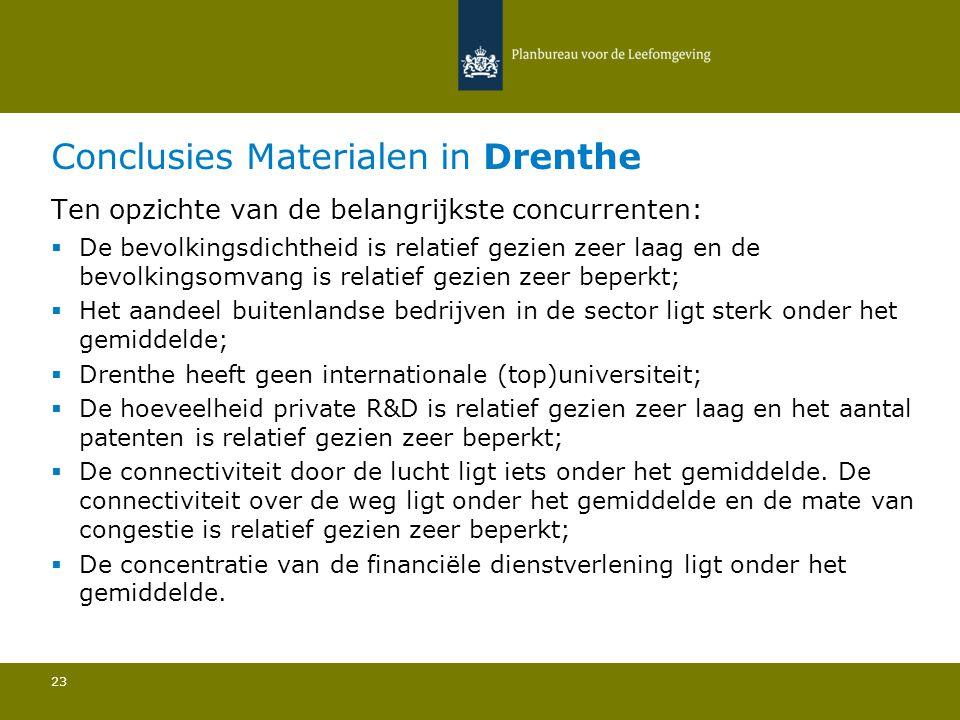 Conclusies Materialen in Drenthe 23 Ten opzichte van de belangrijkste concurrenten:  De bevolkingsdichtheid is relatief gezien zeer laag en de bevolkingsomvang is relatief gezien zeer beperkt; Het aandeel buitenlandse bedrijven in de sector ligt sterk onder het gemiddelde; Drenthe heeft geen internationale (top)universiteit; De hoeveelheid private R&D is relatief gezien zeer laag en het aantal patenten is relatief gezien zeer beperkt; De connectiviteit door de lucht ligt iets onder het gemiddelde.