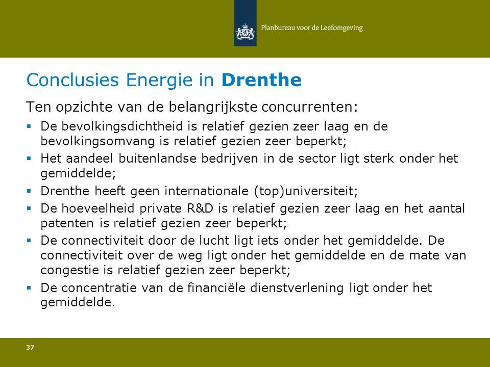 Conclusies Energie in Drenthe 37 Ten opzichte van de belangrijkste concurrenten:  De bevolkingsdichtheid is relatief gezien zeer laag en de bevolkingsomvang is relatief gezien zeer beperkt; Het aandeel buitenlandse bedrijven in de sector ligt sterk onder het gemiddelde; Drenthe heeft geen internationale (top)universiteit; De hoeveelheid private R&D is relatief gezien zeer laag en het aantal patenten is relatief gezien zeer beperkt; De connectiviteit door de lucht ligt iets onder het gemiddelde.