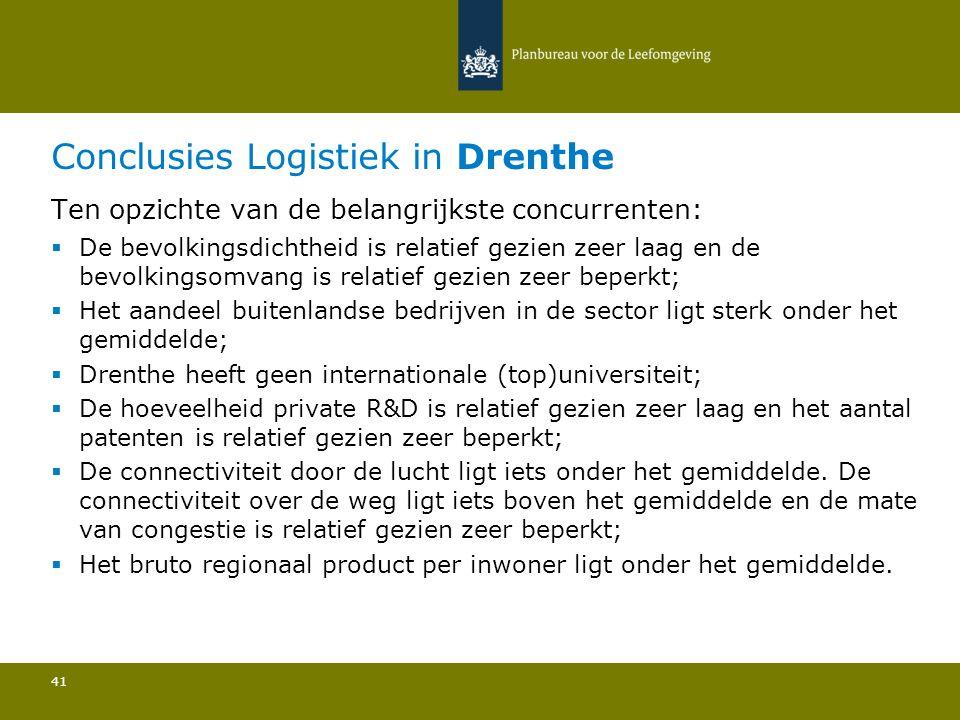 Conclusies Logistiek in Drenthe 41 Ten opzichte van de belangrijkste concurrenten:  De bevolkingsdichtheid is relatief gezien zeer laag en de bevolkingsomvang is relatief gezien zeer beperkt; Het aandeel buitenlandse bedrijven in de sector ligt sterk onder het gemiddelde; Drenthe heeft geen internationale (top)universiteit; De hoeveelheid private R&D is relatief gezien zeer laag en het aantal patenten is relatief gezien zeer beperkt; De connectiviteit door de lucht ligt iets onder het gemiddelde.