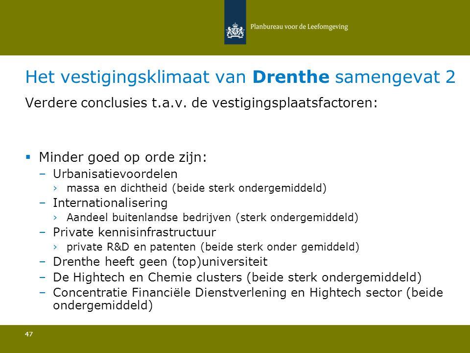 Het vestigingsklimaat van Drenthe samengevat 2 47 Verdere conclusies t.a.v.