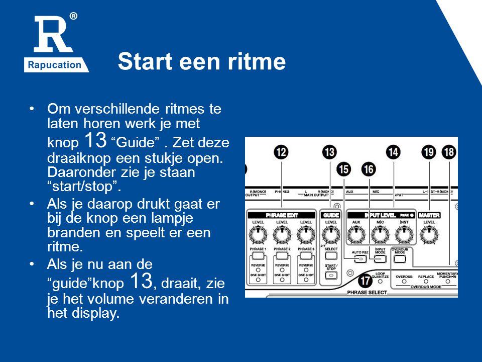 Kies een andere beat • Als je onder knop 13 guide op select drukt, zie je in het display de volgende tekst verschijnen Guide: Pattern met daaronder de naam van het ritme dat je nu hoort.