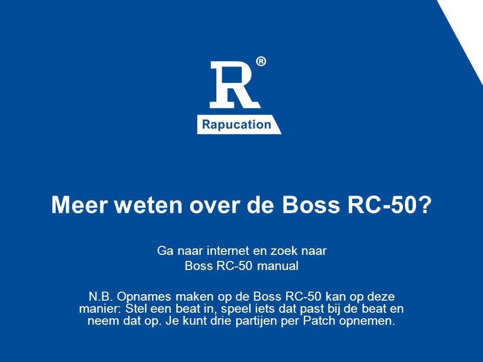 Meer weten over de Boss RC-50. Ga naar internet en zoek naar Boss RC-50 manual N.B.