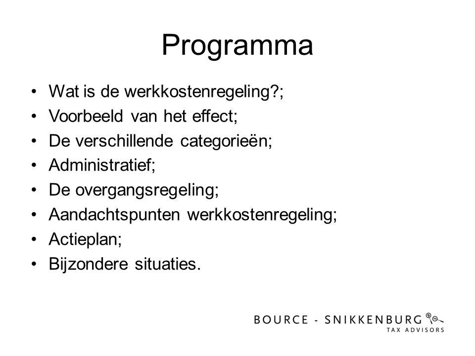 Programma •Wat is de werkkostenregeling?; •Voorbeeld van het effect; •De verschillende categorieën; •Administratief; •De overgangsregeling; •Aandachts