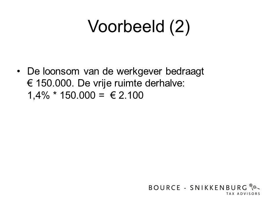 Voorbeeld (2) •De loonsom van de werkgever bedraagt € 150.000. De vrije ruimte derhalve: 1,4% * 150.000 = € 2.100