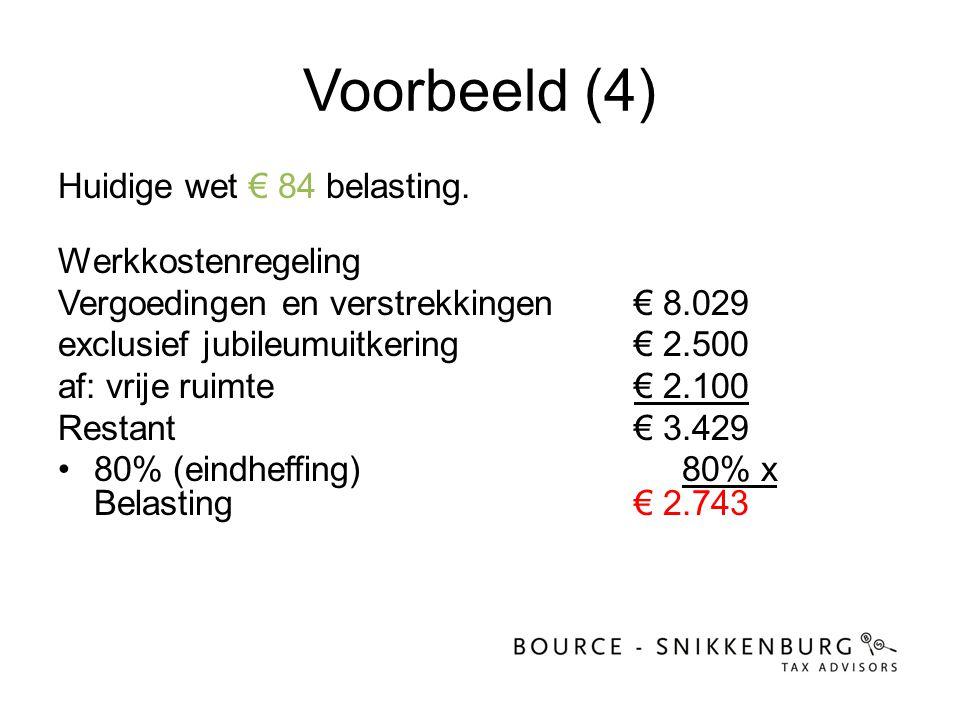Voorbeeld (4) Huidige wet € 84 belasting. Werkkostenregeling Vergoedingen en verstrekkingen € 8.029 exclusief jubileumuitkering € 2.500 af: vrije ruim