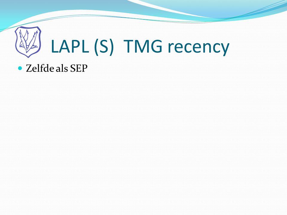 LAPL (S) TMG recency  Zelfde als SEP