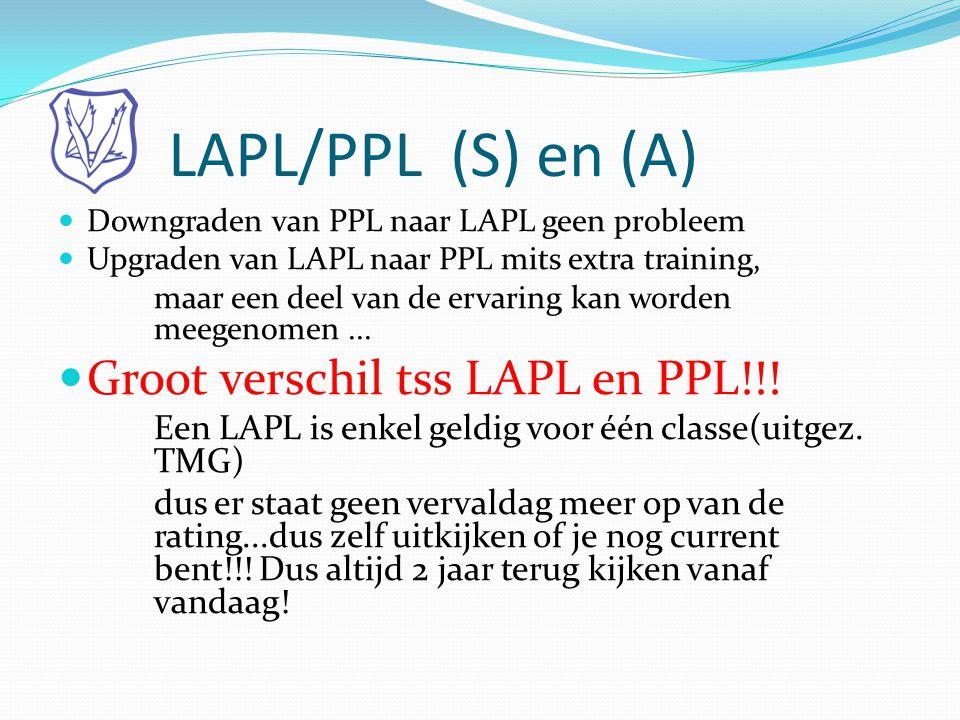 LAPL/PPL (S) en (A)  Downgraden van PPL naar LAPL geen probleem  Upgraden van LAPL naar PPL mits extra training, maar een deel van de ervaring kan w