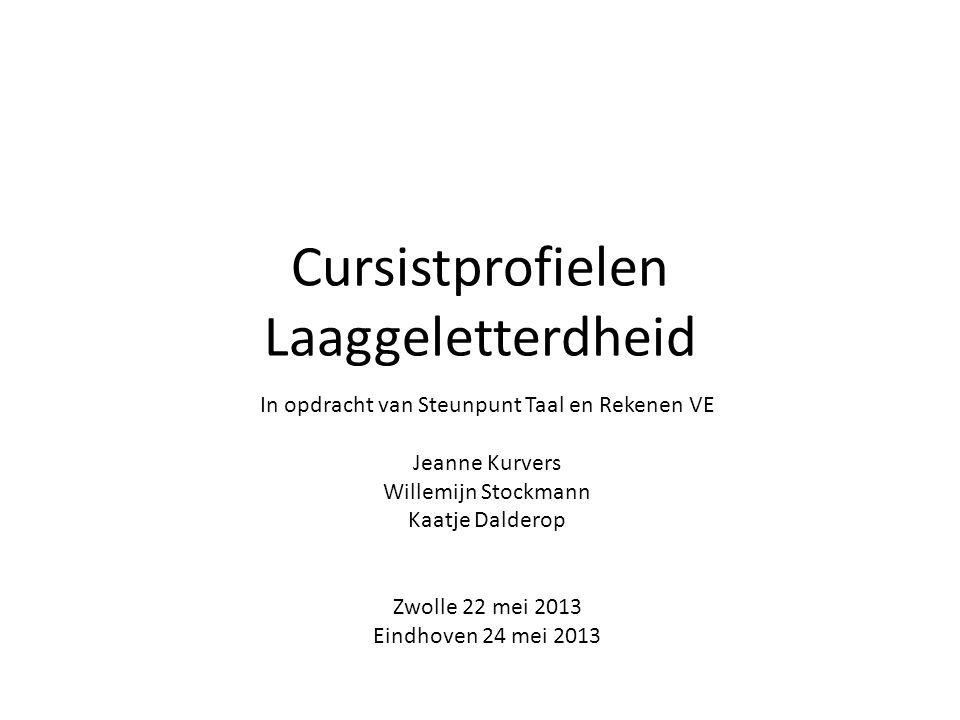 Cursistprofielen Laaggeletterdheid In opdracht van Steunpunt Taal en Rekenen VE Jeanne Kurvers Willemijn Stockmann Kaatje Dalderop Zwolle 22 mei 2013