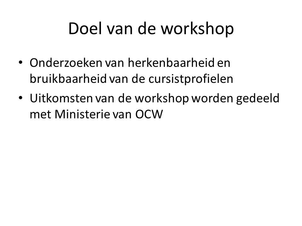 Doel van de workshop • Onderzoeken van herkenbaarheid en bruikbaarheid van de cursistprofielen • Uitkomsten van de workshop worden gedeeld met Ministe
