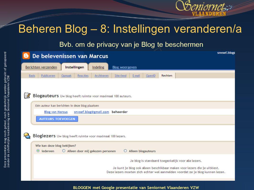 Beheren Blog – 8: Instellingen veranderen/a Bvb.