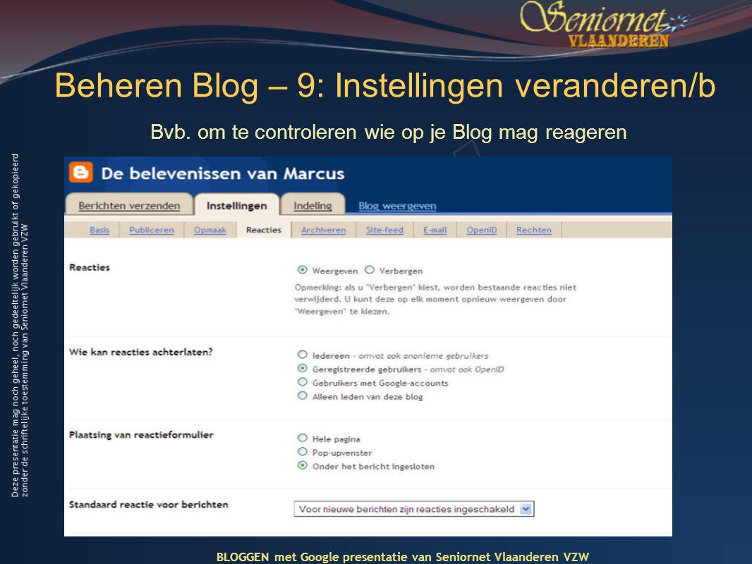 Beheren Blog – 9: Instellingen veranderen/b Bvb.