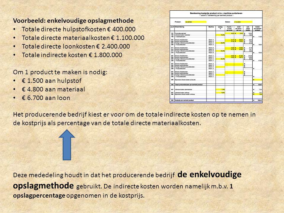 Voorbeeld: enkelvoudige opslagmethode • Totale directe hulpstofkosten € 400.000 • Totale directe materiaalkosten € 1.100.000 • Totale directe loonkost