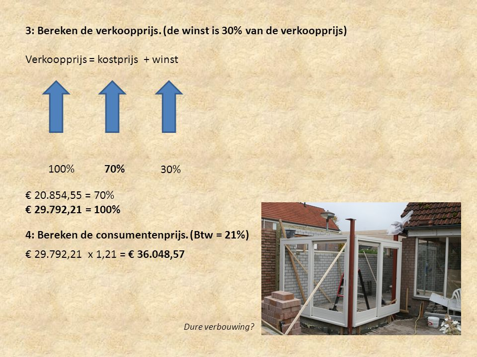 3: Bereken de verkoopprijs. (de winst is 30% van de verkoopprijs) Verkoopprijs = kostprijs + winst 30% 100%70% € 20.854,55 = 70% € 29.792,21 = 100% 4: