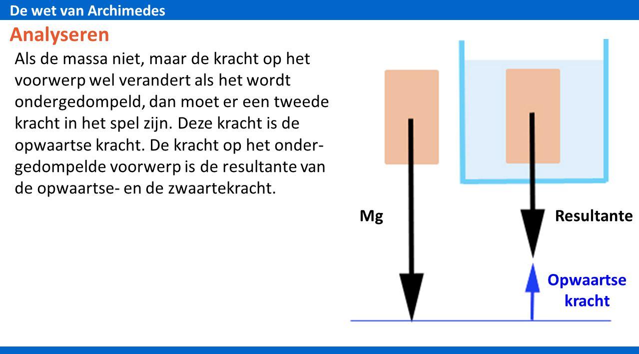 De wet van Archimedes Analyseren Als de massa niet, maar de kracht op het voorwerp wel verandert als het wordt ondergedompeld, dan moet er een tweede kracht in het spel zijn.