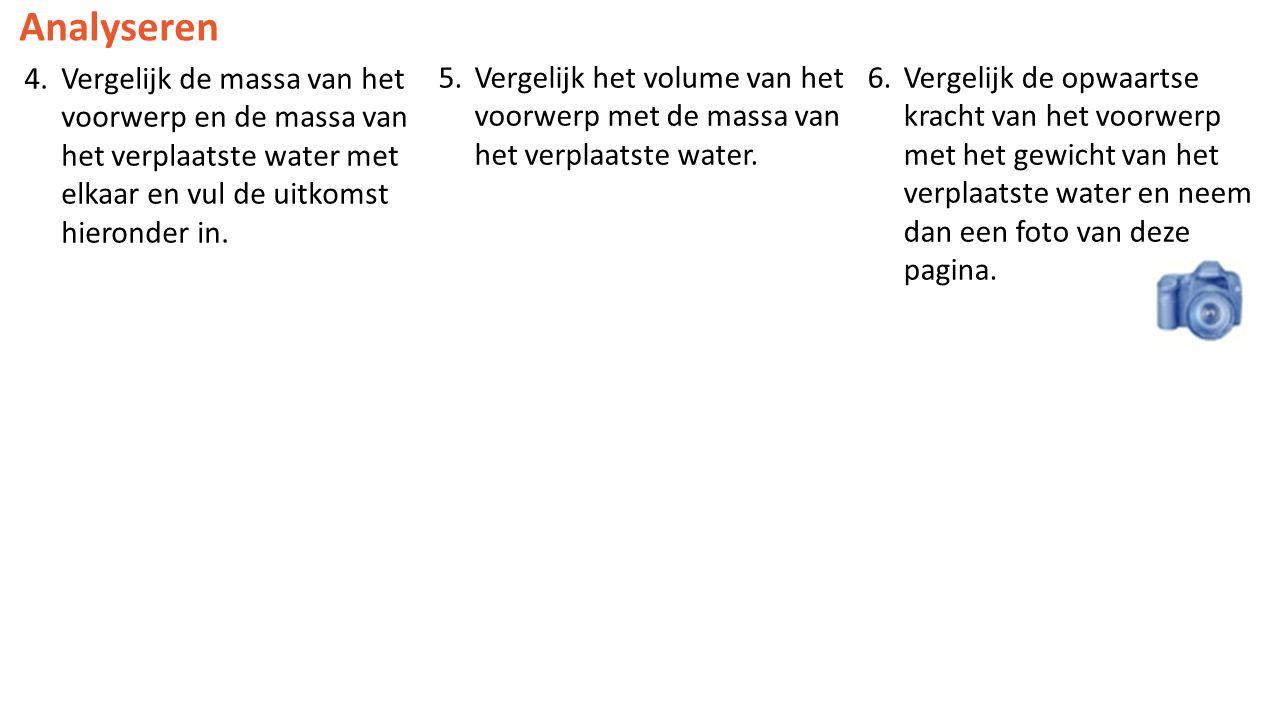 Analyseren 4.Vergelijk de massa van het voorwerp en de massa van het verplaatste water met elkaar en vul de uitkomst hieronder in.