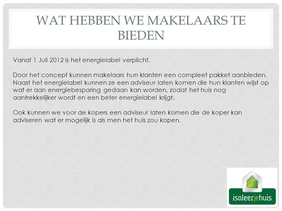 WAT HEBBEN WE MAKELAARS TE BIEDEN Vanaf 1 Juli 2012 is het energielabel verplicht.