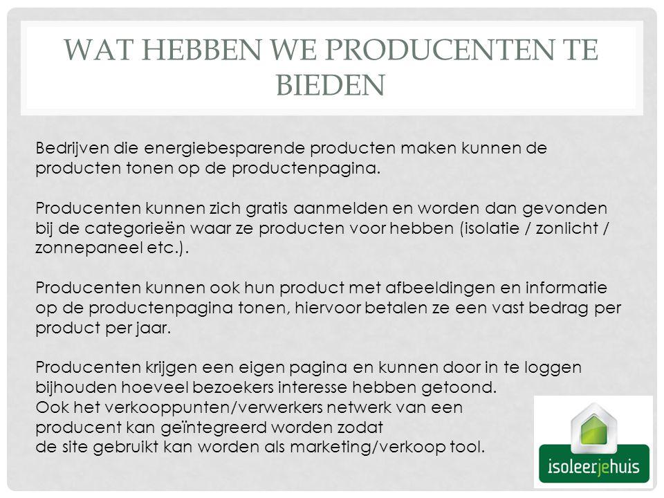 WAT HEBBEN WE PRODUCENTEN TE BIEDEN Bedrijven die energiebesparende producten maken kunnen de producten tonen op de productenpagina.