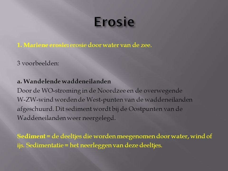 1. Mariene erosie: erosie door water van de zee. 3 voorbeelden: a. Wandelende waddeneilanden Door de WO-stroming in de Noordzee en de overwegende W-ZW