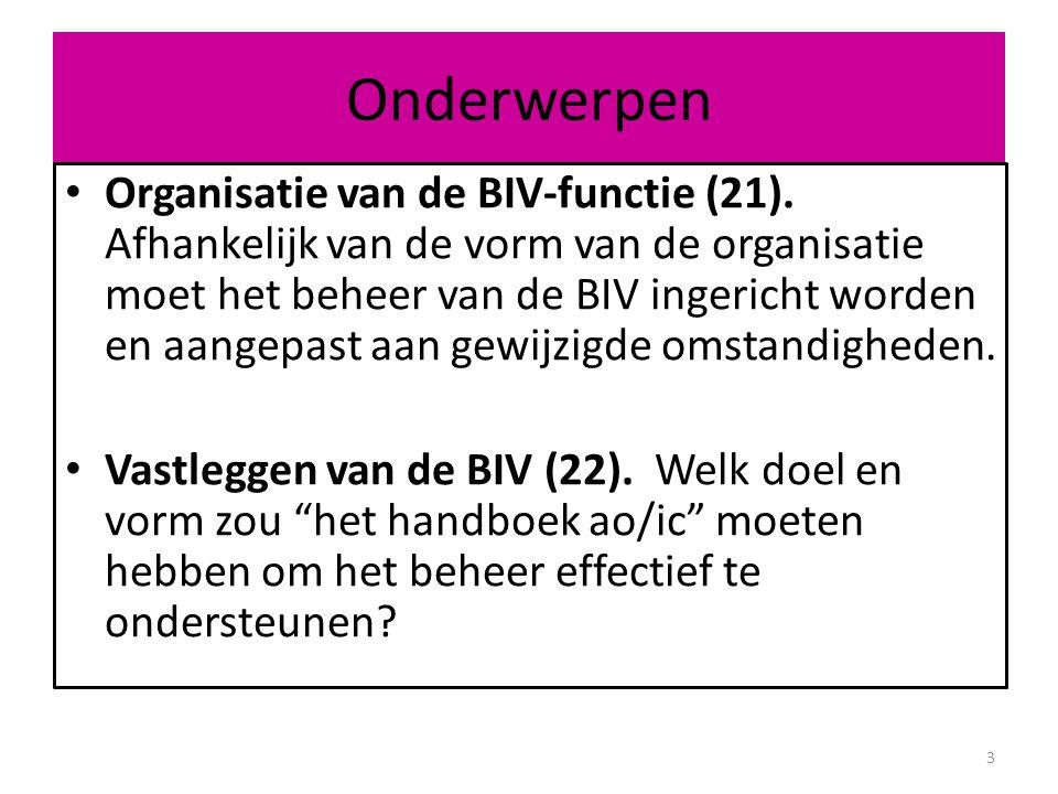 Organisatie van de BIV-functie (21): 1.Aspecten van BIV-beheer 2.BIV groeit met de organisatie mee.