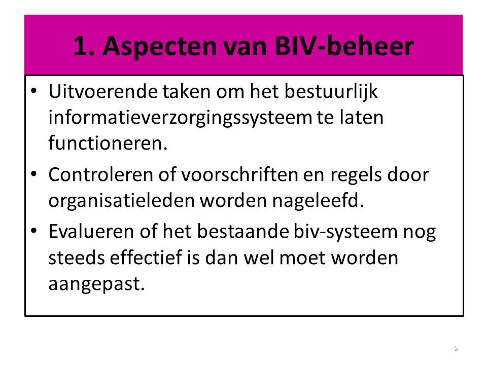 Vastleggen van de BIV (22) 1.Integrale benadering 2.Doel en reikwijdte van de BIV-vastleggingen 3.Doelgroepen 4.Inhoud van wat vastgelegd moet worden 5.Vormen en technieken om processen vast te leggen 6.Veel gebruikte vastleggingsmix 7.Gebruik van software om BIV vast te leggen 36