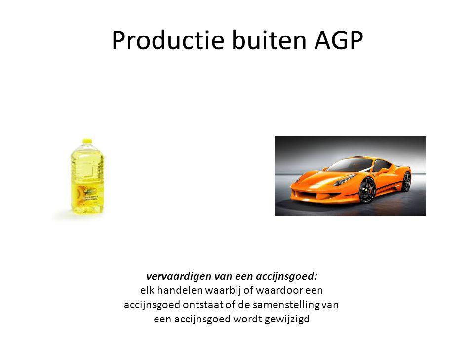Productie buiten AGP vervaardigen van een accijnsgoed: elk handelen waarbij of waardoor een accijnsgoed ontstaat of de samenstelling van een accijnsgo