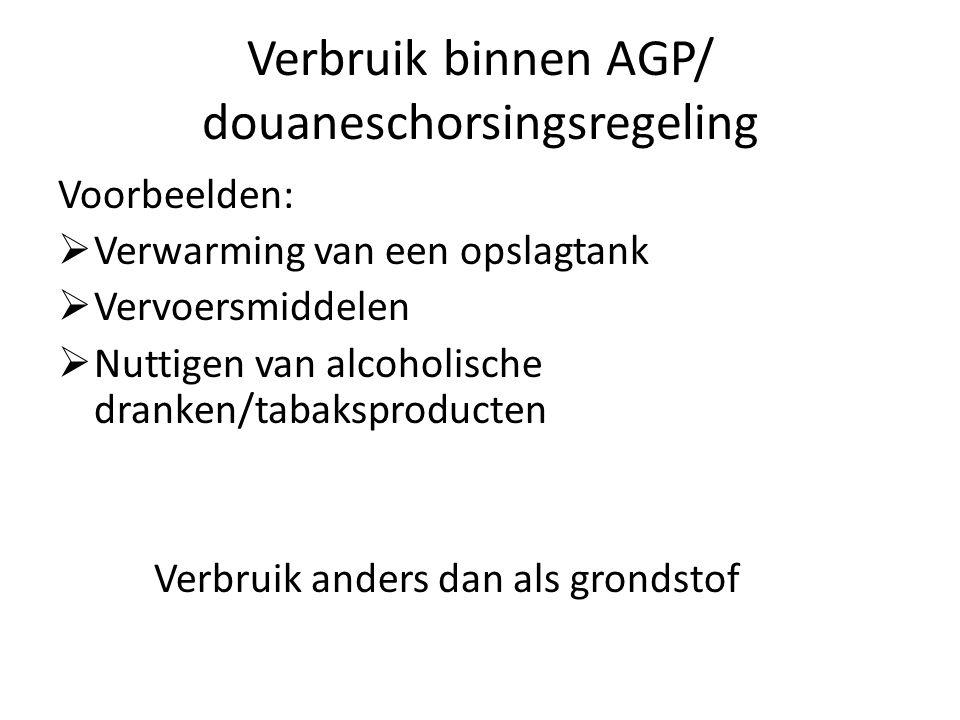 Verbruik binnen AGP/ douaneschorsingsregeling Voorbeelden:  Verwarming van een opslagtank  Vervoersmiddelen  Nuttigen van alcoholische dranken/taba