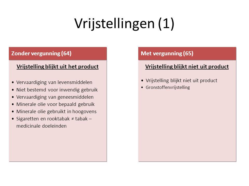 Vrijstellingen (1) Vrijstelling blijkt uit het product •Vervaardiging van levensmiddelen •Niet bestemd voor inwendig gebruik •Vervaardiging van genees